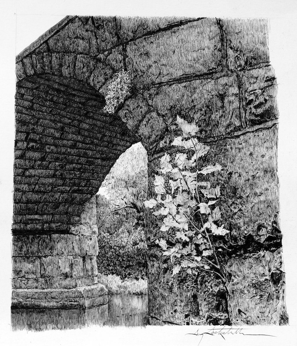 Stone Arch Bridge with Sapling