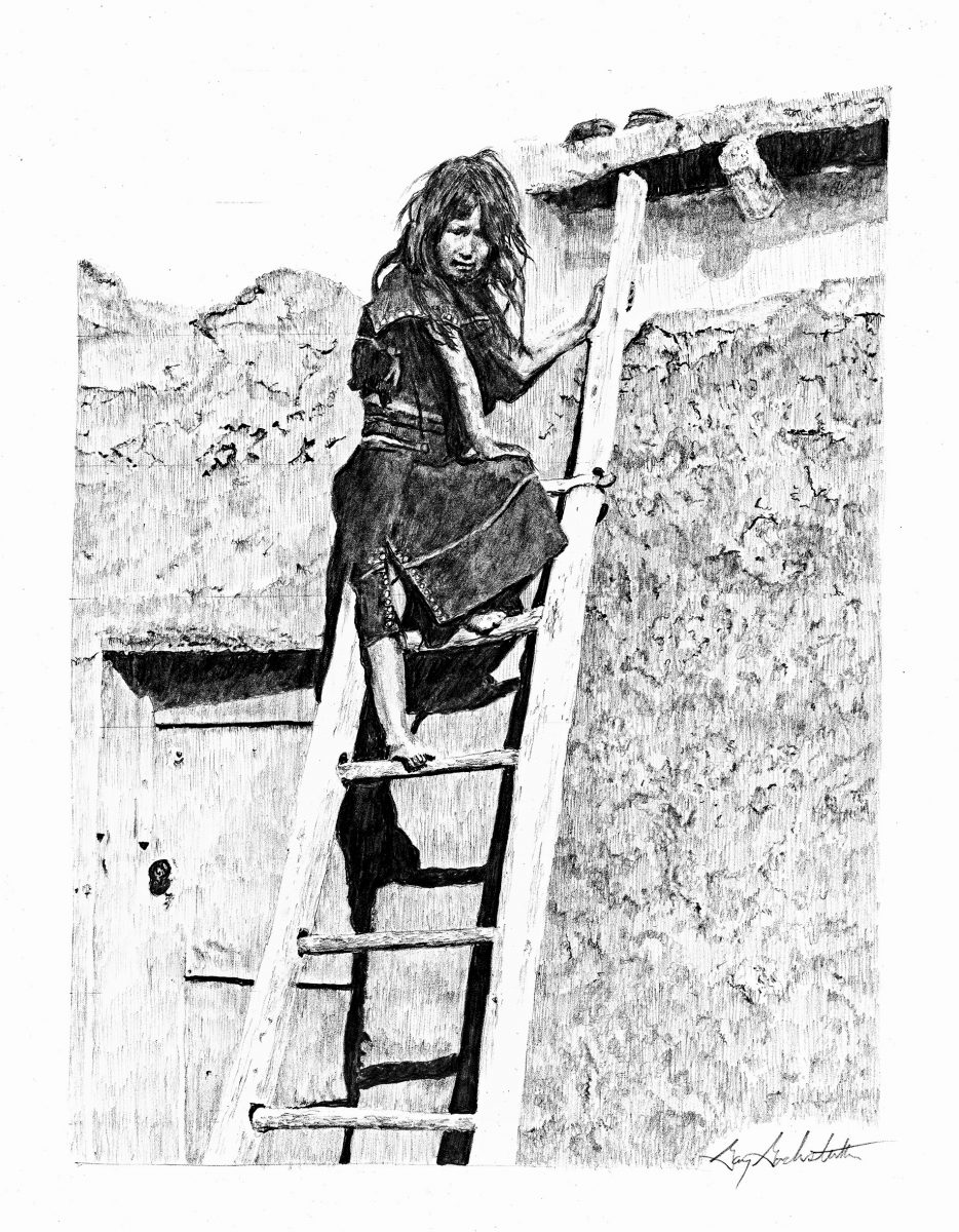 Hopi Girl On Ladder